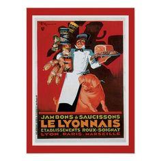 Custom Posters, Vintage Posters, Lyonnaise, French Food, Custom Framing, Ham, Food Posters, Artwork, Prints