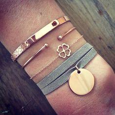 Composition de bracelets plaqué or rose - L'Atelier d'Amaya