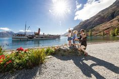 Real Journeys TSS Earnslaw Steamship cruise on Lake Wakatipu to visit Walter Peak Farm. for a guided farm tour, horse trek, cycle ride, barbecue lunch or evening dining. Lake Wakatipu, Cycle Ride, Country Farm, New Zealand, Trek, Tourism, Journey, Activities, Te Anau