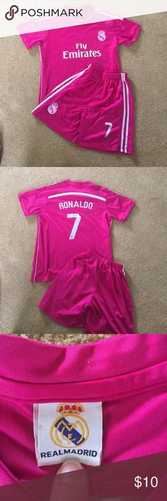 Ronaldo Fly Emirates Soccer Set Youth Uniform replica.  Perfect for your little soccer superstar! Matching Sets