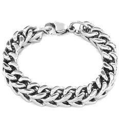 Rubber Bracelet 1cm Sterling Silver Medium Triple Greek Key Cutout