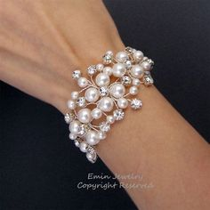 Bridal Bracelet, Wedding Cuff Bracelet, White Swarovski Pearl Rhienstone Wire Wrapped Vine Silver Wedding Jewelry for Brides and Bridesmaids via Etsy
