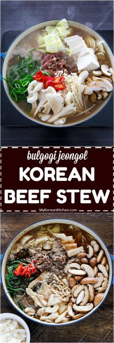 How to make bulgogi jeongol (Korean beef stew)   MyKoreanKitchen.com #bulgogi #beef #hotpot #stew #koreanfood #comfortfood