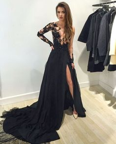 Long sleeve Prom Dress, lace Prom Dress, Black Prom Dress, Prom Dress, Custom Prom Dress Dresses Near Me Prom Dresses 2016, Prom Dresses Long With Sleeves, Black Prom Dresses, Mermaid Prom Dresses, Cheap Prom Dresses, Sexy Dresses, Beautiful Dresses, Formal Dresses, Evening Dresses