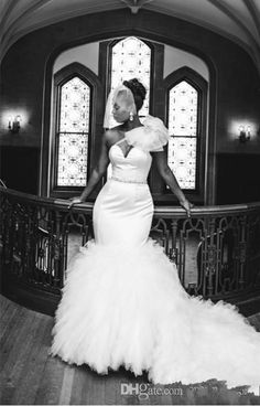 African Vintage Mermaid Wedding Dresses 2016 One Shoulder Tulle Tiered Ruffles Belt Plus Size Court Train Custom Wedding Dress Bridal Gowns Online with $169.85/Piece on Haiyan4419's Store | DHgate.com