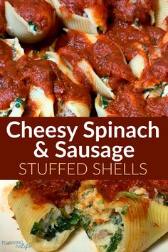 Cheesy Stuffed Shells with Spinach and Sausage is one of my favorite restaurant-quality Italian meals to make at home. The robust flavors in this stuffed shells recipe come from spinach, mozzarella cheese, ricotta cheese and sausage. Just pour red sauce over the top, pop in the oven and a great family meal comes together! Recipes Using Pork Chops, Pork Recipes For Dinner, Summer Grilling Recipes, Summer Recipes, Sausage Stuffed Shells, Spinach Stuffed Shells, Stuffed Shells Recipe, Easy Family Meals, Easy Meals