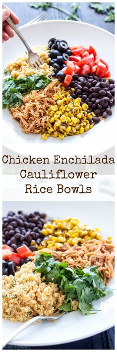 Slow cooked, shredded, red chile chicken is piled on top of cilantro lime cauliflower rice and served with delicious Mexican toppings for an easy and healthy dinner! (Mexican Recipes With Chicken) Paleo Recipes, Mexican Food Recipes, Cooking Recipes, Dessert Recipes, Shrimp Recipes, Indian Recipes, Lunch Recipes, Dinner Party Recipes Main, Appetizer Recipes