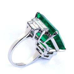 16.68 Carat Emerald Ring | From a unique collection of vintage engagement rings at http://www.1stdibs.com/jewelry/rings/engagement-rings/