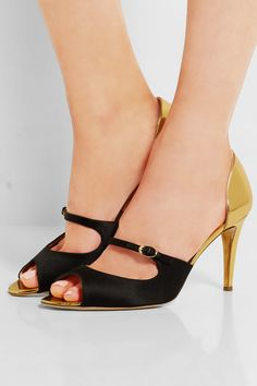Rupert Sanderson | Lorna satin and metallic leather sandals | NET-A-PORTER.COM