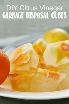 These vinegar and citrus cubes are a quick and easy way to clean your garbage disposal. These vinegar and citrus cubes are a quick and easy way to clean your garbage disposal. Green Cleaning Recipes, Deep Cleaning Tips, House Cleaning Tips, Natural Cleaning Products, Spring Cleaning, Cleaning Hacks, Cleaning Solutions, Apartment Cleaning, Clean Baking Pans