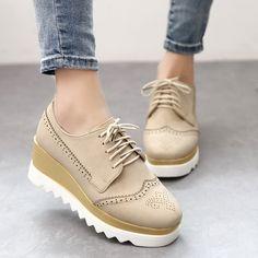 Zapatos de Cuero Ojales Para Mujer Plataforma Cordones Cuñas Tacones Altos Bombas Sintético Nuevo