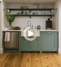 These Shaker cupboards have been painted in our soft Trinity Blue shade and finished with chrome hardware. A couple of open shelves allow the owners to keep pots and jars and bottles in a useful spot and are the perfect place for a few potted plants too. To the left of the sink is a dishwasher and to the right is an integrated bin, what a wonderful little run. #farmhousekitchen Kitchen Shelves, Kitchen Decor, Kitchen Plants, Blue Kitchen Cupboards, Annie Sloan Kitchen Cabinets, Blue Shaker Kitchen, Green Kitchen, Kitchen Ideas, Armoires Shaker