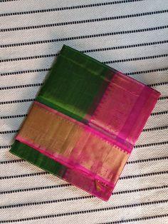Dark green kanchi Silk Cotton Saree with pink pallu and bavanchi border Indian Beauty Saree, Indian Sarees, Saree Blouse, Sari, Cotton Saree Designs, 1 Gram Gold Jewellery, Crepe Silk Sarees, Green Saree, Green Silk