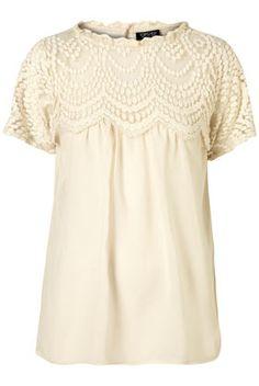 short sleeve lace yoke blouse
