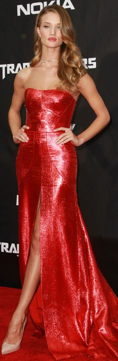 Rosie Huntington Whitely red gown