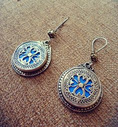 Bijoux boucles doreilles tribales de Bohème tribal ethnique Afghan-bijoux argent boucles doreilles-afghane turquoise Pierre-bijoux-Vintage