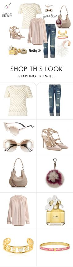 """""""Private wardrobe peek: me, lingering around office"""" by juliabachmann ❤ liked on Polyvore featuring Peek, Valery Kovalska, Frame Denim, Christian Dior, Valentino, Liebeskind, Fendi, H&M, Marc Jacobs and Marc by Marc Jacobs"""