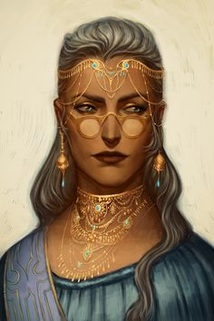 f Wizard hilvl Robes Cloak Necklace Circlet Glasses portrait urban City Tower lg Fantasy Character Design, Character Creation, Character Design Inspiration, Character Art, Female Character Concept, Fantasy Women, Fantasy Rpg, Medieval Fantasy, Dnd Characters