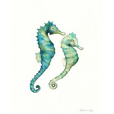 Seahorse Love /watercolor print/teal/light green/aqua/tan/sea/ocean... ($20) ❤ liked on Polyvore