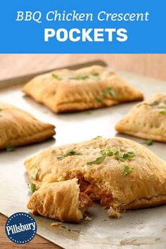 Impress your game day crowd with these five-star BBQ chicken crescent pockets—made easy thanks to crescent dough sheets! With just four ingredients and 15 minutes of prep required, this recipe wins every time. Crescent Dough Sheet Recipes, Crescent Roll Recipes, Pillsbury Dough, Pillsbury Recipes, Appetizer Recipes, Snack Recipes, Cooking Recipes, Appetizers, Bbq Chicken