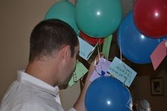 birthday gift from the heart... attached notes with things we love about Daddy to the number of balloons he was turning (34).  Surprised him with all the balloons and notes when he arrived home from work, hanging around our dining room.  Priceless.
