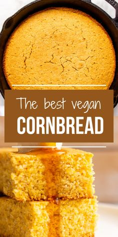 Made with cornmeal, plant-based milk and a touch of sweetness, this easy cornbread is a classic Southern dish. You can eat it as is with a piece of butter and a drizzle of Maple syrup, or serve alongside your savory soup. Vegan Cornbread, Homemade Cornbread, Southern Dishes, Southern Recipes, Longevity Diet, Lavender Macarons, Flavored Milk, Plant Based Milk, Vegan Butter