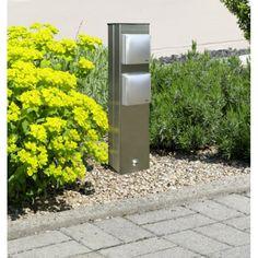 elegante -fach Edelstahlsteckdose für Aussen bei Leuchten-Welt.com #steckdose #aussen #garten #strom #säule #albert #leuchten