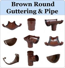 Virtual Plastics Ltd. Brown Round Gutter and Downpipe Range from £3.49