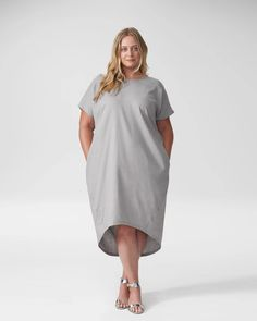 Sarah Linen Shift Dress - Grey - Universal Standard