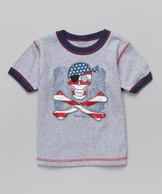 Love this Dark Ash Patriotic Pirate Ringer Tee - Infant, Toddler & Boys by Mis-Tee-V-Us on #zulily! #zulilyfinds