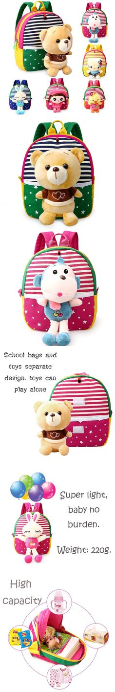 Baby Kindergarten school bags Cute Cartoon Plush Toys Backpack bag Child Boy Girl cartoon animal kids school bags