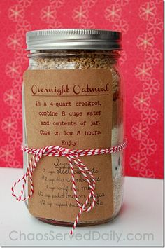 Overnight Oatmeal in a Jar from ChaosServedDaily.com