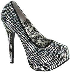 Rhinestone Heel - Iridescent - Shoes - Fancy Dress Costume Accessories
