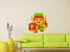 Zelda Link Wall Decal MATTE finished No White Border Removable without Residue