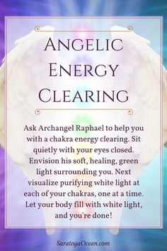 Here's a lovely way to feel refreshed: Clear your chakras with the help of Archangel Raphael, the angel of healing. Take as long or as short of a time with this as you need to purify your chakras and clear your energy. If you enjoy meditating wit Chakra Healing, Healing Spells, Healing Crystals, Autogenic Training, Reiki Training, Archangel Prayers, Om Mantra, Les Chakras, Archangel Raphael
