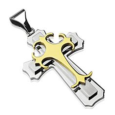 Spikes 316L Stainless Steel Gold Gothic Cross Pendant