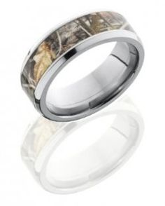 Titanium 8mm Wide Realtree Max4 Camouflage Wedding Band. This unique mens wedding band is a total of 8mm wide with flat style and a 5mm inlay of Realtree Max4 Camouflage and beveled edge. Available wi