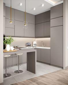 Modern Kitchen Interiors, Luxury Kitchen Design, Kitchen Room Design, Kitchen Cabinet Design, Living Room Kitchen, Kitchen Layout, Home Decor Kitchen, Interior Design Kitchen, Home Kitchens