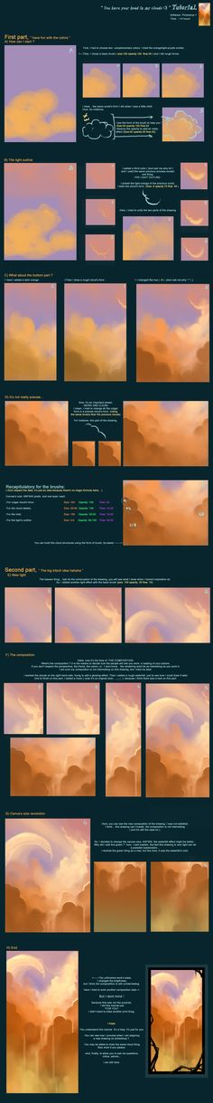 Tutorial 2 You have your head in my cloud by AquaSixio.deviantart.com on @deviantART  A technical walkthrough for a very cloudy scene. This one goes into brush settings and the lighting quite a bit.