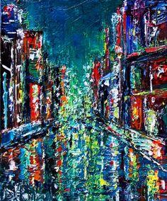 Abstract+cityscape+night+texture+rain+lights+new+york+by+Debra+Hurd,+painting+by+artist+Debra+Hurd