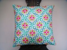 Turquoise blue pink green flower cushion by ItsSewInspirational Cushion Pillow, Cushion Pads, Blue Hallway, Velour Fabric, Handmade Cushions, Blue Home Decor, Flower Pillow, Throw Cushions, Green Flowers
