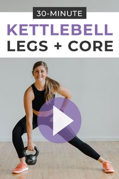 Burn out your lower body and tone your abs with this 30-minute KETTLEBELL WORKOUT! This at home strength training workout is designed to build lean muscle and burn 400+ calories in just 30 minutes. Six of the best kettlebell leg exercises to build strength in the legs and butt while also toning the abs and core. This is a kettlebell AMRAP workout which means you determine how many calories you burn based on the number of rounds you complete! Kettlebell Workout Video, Kettlebell Workouts For Women, Amrap Workout, Kettlebell Abs, Leg Workout At Home, At Home Workouts, Workout Videos, Barre Workout, Weekly Workouts