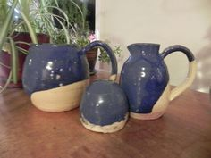 Handmade blue ceramic set of three large and small pitcher and salt and pepper shaker
