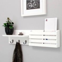 Kiera Grace Sydney 24 Inch Wall Shelf and Mail Holder with 3 Metal Hooks, White