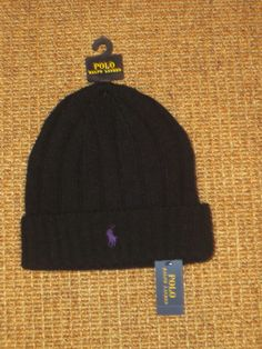 9038031babc Polo ralph lauren men s beanie hat winter wool cap black pony logo new