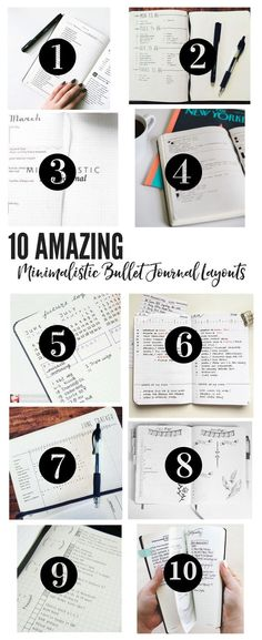Feeling overwhelmed with the amazing planners out there? Take a look at these 10 simple minimalistic bullet journal layouts and find out how easy it can be! Planner Bullet Journal, Digital Bullet Journal, Bullet Journal Spreads, How To Bullet Journal, My Journal, Journal Prompts, Bullet Journal Inspiration, Journal Pages, Journal Ideas