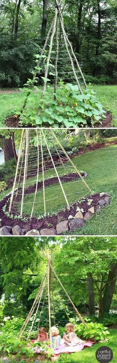 Build a Bean Teepee for All Vining Vegetables and It is a Delightful Retreat for All Ages as Well garten, 19 Successful Ways to Building DIY Trellis for Veggies and Fruits Potager Garden, Veg Garden, Vegetable Garden Design, Garden Club, Garden Planters, Diy Planters, Vegetable Ideas, Garden Container, Garden Seeds
