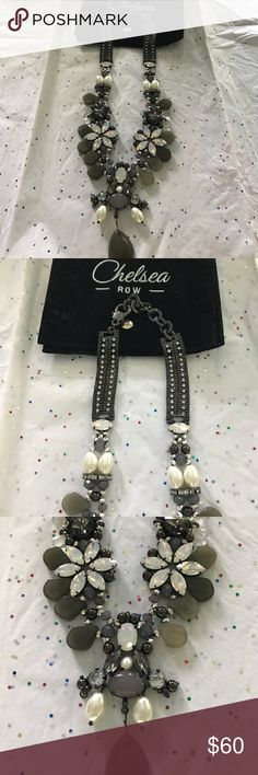 Fabulous NWT Necklace This ones a Showstopper!!🌸 Chelsea Row Genuine Labradorite, Hematite plus Beautiful Faux pearls, Opals 18 1/2 long With 2 1/2 extender , Purples Greys , Whites with black make this a beauty ! New with Pouch Chelsea Row Jewelry Necklaces