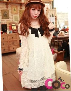 White Retro Lace Asian Fashion Dress With A Collar And Cuffs