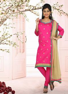 Sunshine Pink & Cream Chanderi #Salwar #Suit With Zari Work #pakistanisuits #anarkalisuits #designersuits #womenapparel #womenfashion
